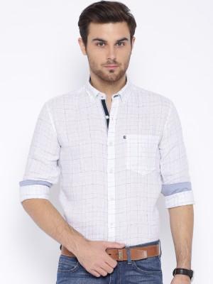 Harvard Men's Checkered Casual Linen White Shirt