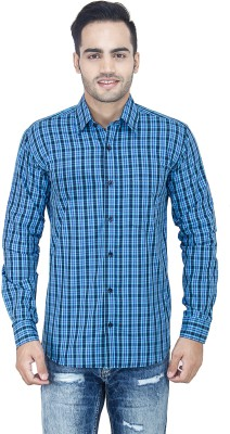 LEAF Men's Checkered Casual Blue, Light Blue, White Shirt