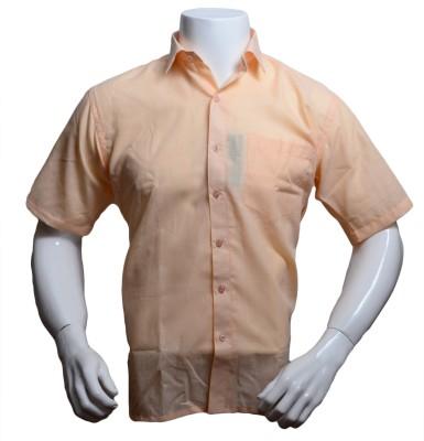 Qube Men's Solid Formal Orange Shirt