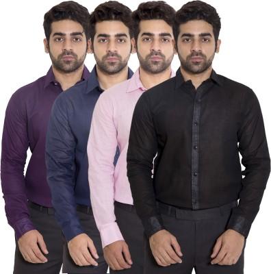 deekshavastra Men's Solid Casual Black Shirt