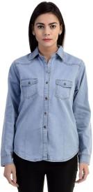 Damen Mode Girls Solid Casual Denim Light Blue Shirt