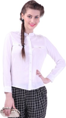 Street 9 Women's Solid Casual White Shirt