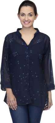 One Femme Women's Polka Print Formal, Party Dark Blue Shirt