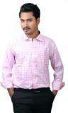 Cairon Men's Checkered Formal Pink Shirt