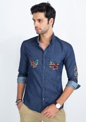 Mr Button Men's Solid Casual Blue Shirt
