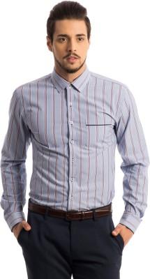 Specimen Men's Striped Casual Blue, Orange Shirt