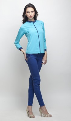 Primo Knot Women's Solid Casual Light Blue Shirt
