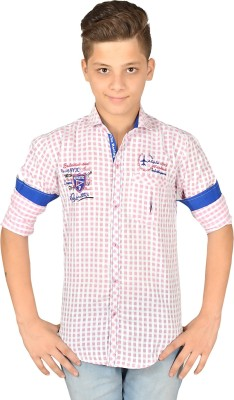 Anry Boy,s Checkered Casual Pink Shirt