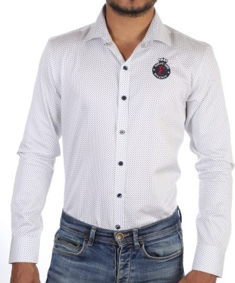 FORTY ONE FITZROY Men's Polka Print Casual White Shirt