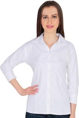 Kamakshi Krafts Women's Solid Formal White Shirt