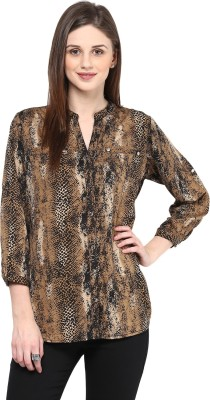 Color Cocktail Women's Printed Casual Brown Shirt