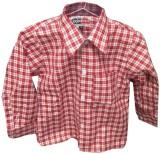 Rajindras Boys Checkered Casual Red, Whi...