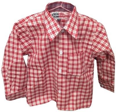 Rajindras Boy's Checkered Casual Red, White Shirt