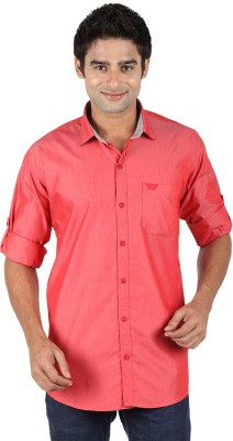 SNC Mens Solid Casual Orange Shirt