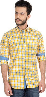 British Club Men's Checkered Casual Yellow, Blue Shirt