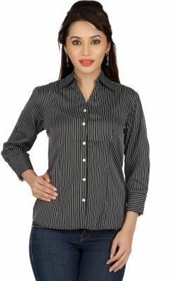 Karishma Women's Striped Formal Black Shirt