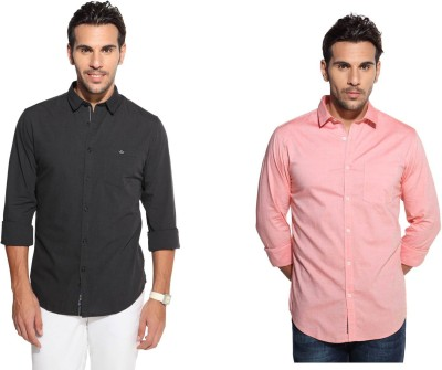Marc N, Park Men's Solid Casual Black, Orange Shirt