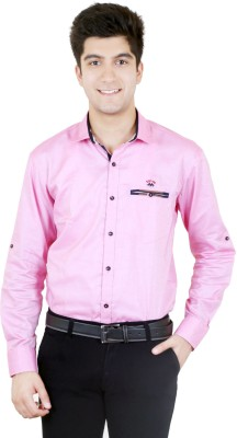 Zrestha Men's Solid Casual Pink Shirt