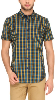 Classic Polo Men's Checkered Casual Beige Shirt