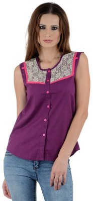 PINK SISLY Women's Solid Casual Purple Shirt