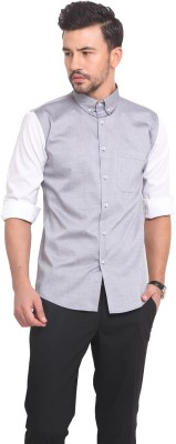 Exitplay Men's Solid Casual Grey, White Shirt
