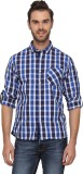 T-Base Men's Checkered Casual Blue Shirt