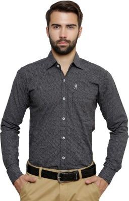 Ebry Men's Printed Formal Black Shirt