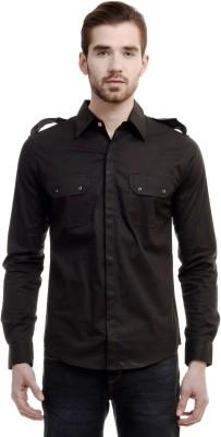 House Of Fett Men's Solid Lounge Wear Black Shirt