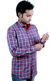 Players King Men's Checkered Casual Red ...