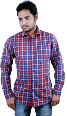 Players King Men's Checkered Casual Reversible Red Shirt