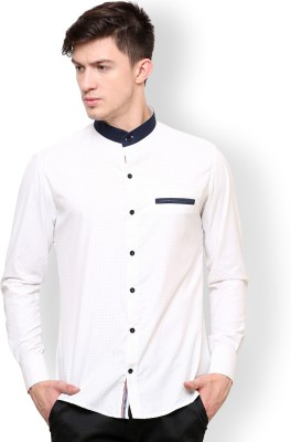 Blackbuk India Men's Polka Print Casual White, Black Shirt