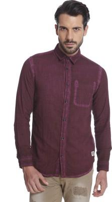 Jack & Jones Men's Solid Casual Maroon Shirt