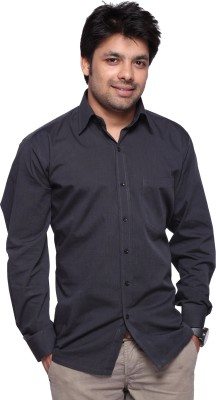 DHK Men's Self Design Casual, Party, Formal, Wedding Black Shirt