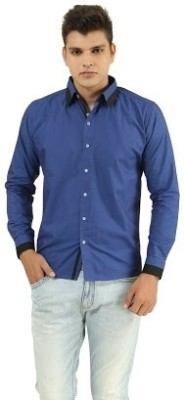 Frissk Men's Solid Casual Dark Blue, Black Shirt