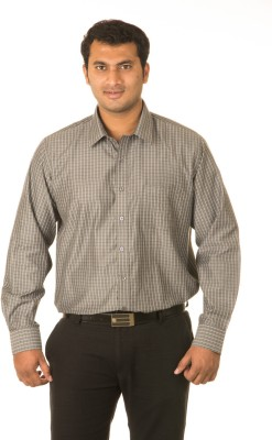 West Vogue Men's Checkered Formal Brown Shirt