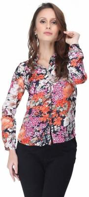 Virago Women's Floral Print Casual Brown Shirt