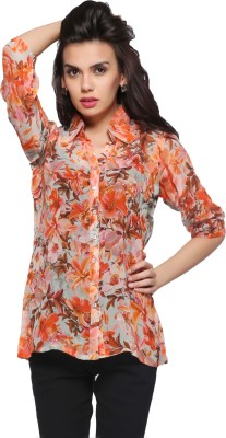 Delfe Women's Printed Casual Orange Shirt