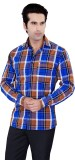 Jazzup Men's Checkered Casual Blue, Brow...