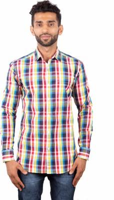 maclavaro Men's Checkered Casual Red Shirt