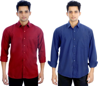 Atmosphere Men's Solid Formal Maroon, Blue Shirt