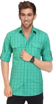 Blackburne Inc Men's Checkered Casual Green, Blue Shirt