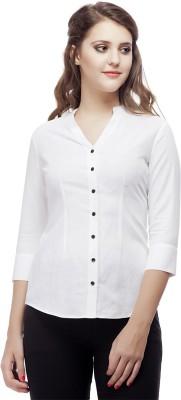 ORIANNE Women's Solid Formal White Shirt