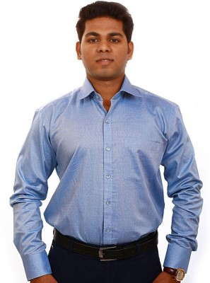 Iconic Men's Solid Formal Blue Shirt