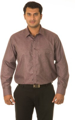West Vogue Men's Checkered Formal Red Shirt