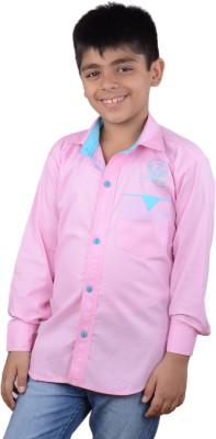 Kiaraa Boy's Solid Casual Pink Shirt