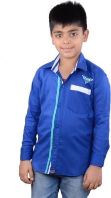 Kiaraa Boy's Solid Casual Dark Blue Shirt