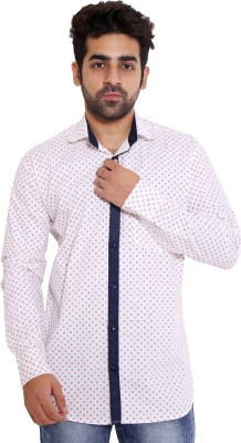 LIME TIME Men's Printed Casual Blue Shirt