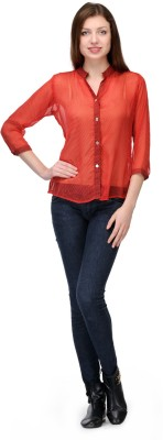 Shwetna Women,s Printed Casual Red Shirt