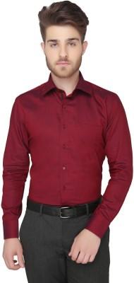 Greenfibre Men's Solid Formal Maroon Shirt