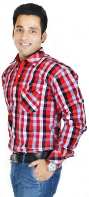 Hd Rascals Men's Checkered Casual Red Shirt